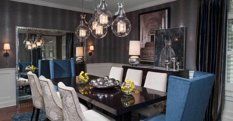 image lighting ideas dining room. Modern Dining Room With Clear Glass Globe Pendant Light. Home Image Lighting Ideas I