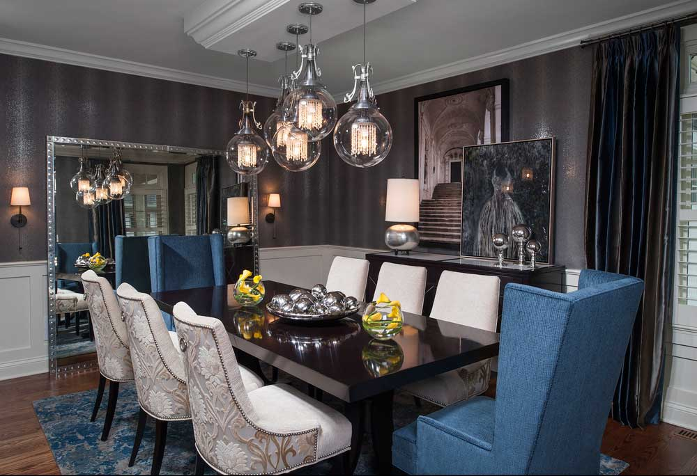 Contemporary Dining Room Lighting Ideas. Modern Dining Room With Clear  Glass Globe Pendant Light.