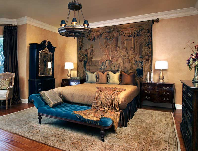 traditional bedroom with black chandelier