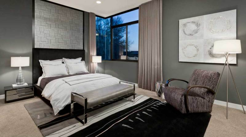 modern bedroom with table lamps