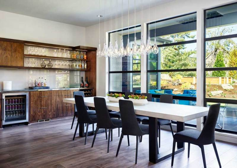 dining room with clear glass pendant lights