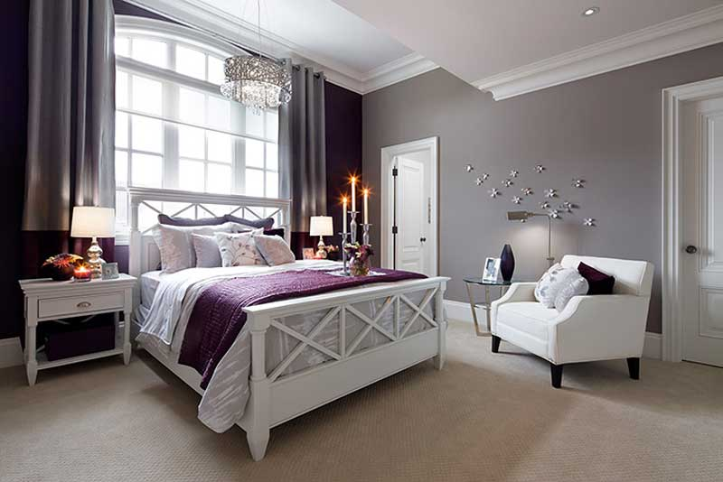 bedroom with drum crystal chandelier