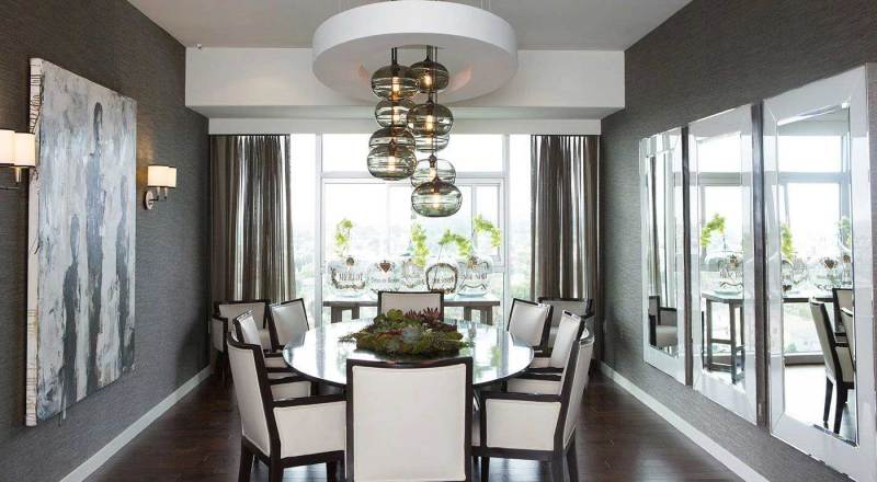 dining room with black glass pendant light