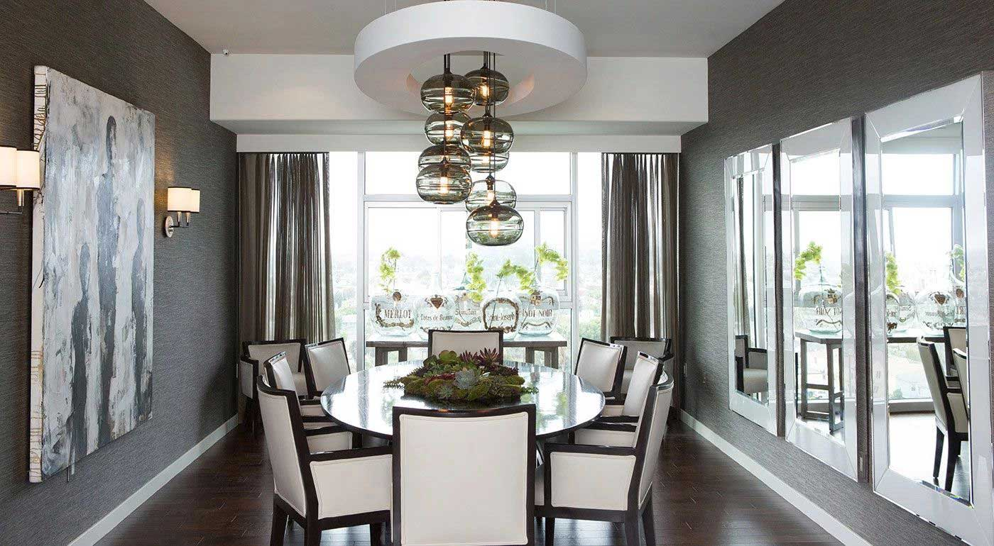 dining room with black glass pendant light & 100 Dining Room Lighting Ideas - HOMELUF azcodes.com