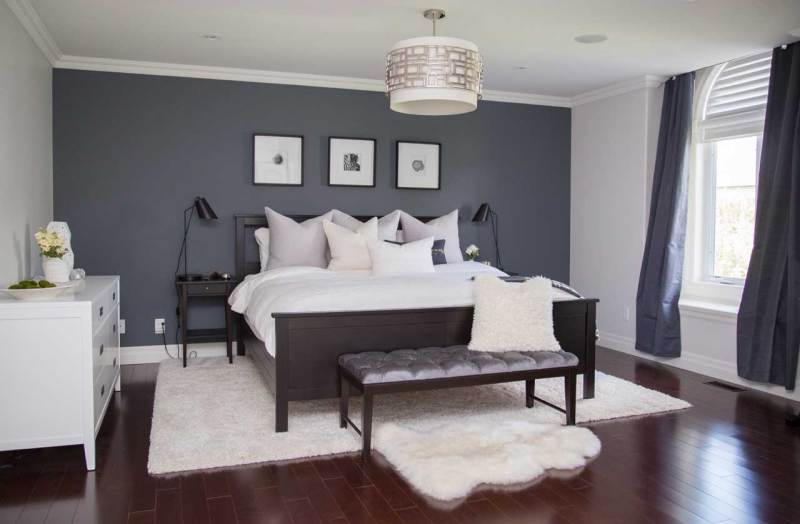grey contemporary bedroom with drum shade pendant ceiling lighting