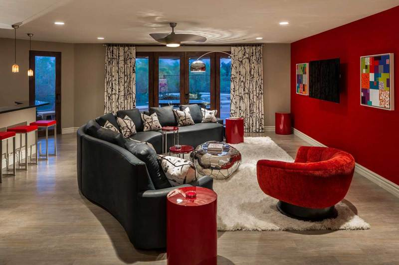 modern living room with ceiling fan light fixtures