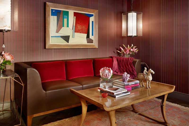 small living room with wall sconces
