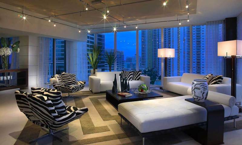contemporary living room with track lighting
