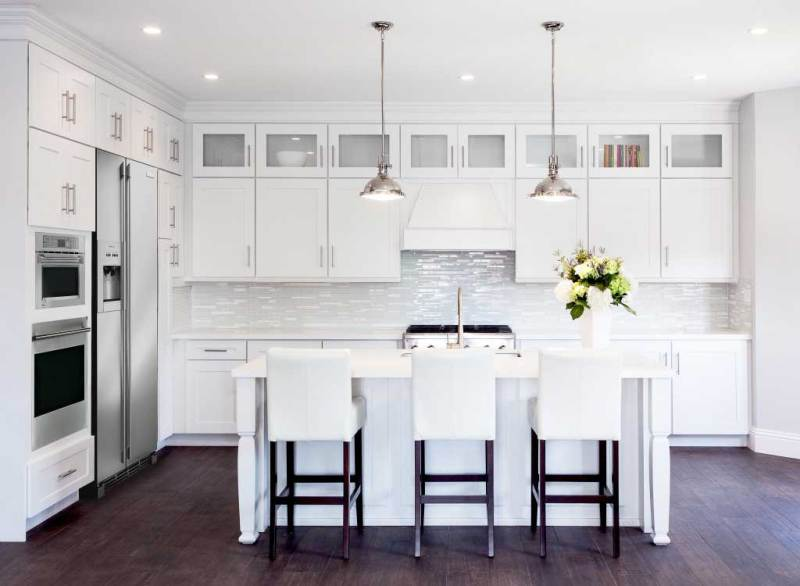 kitchen with chrome pendant light fixture