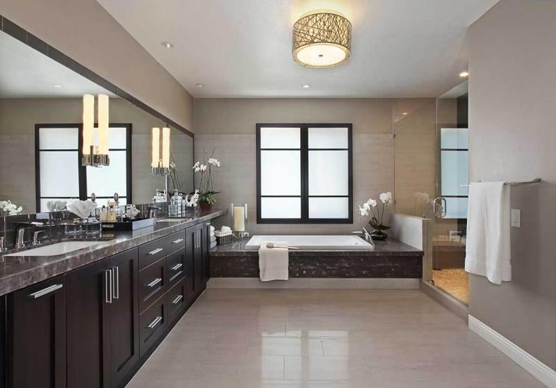 contemporary bathroom with drum pendant ceiling light