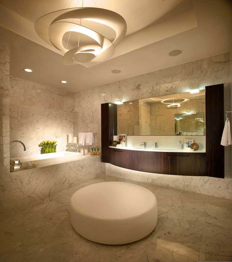 contemporary bathroom with modern pendant light metal lamp spiral