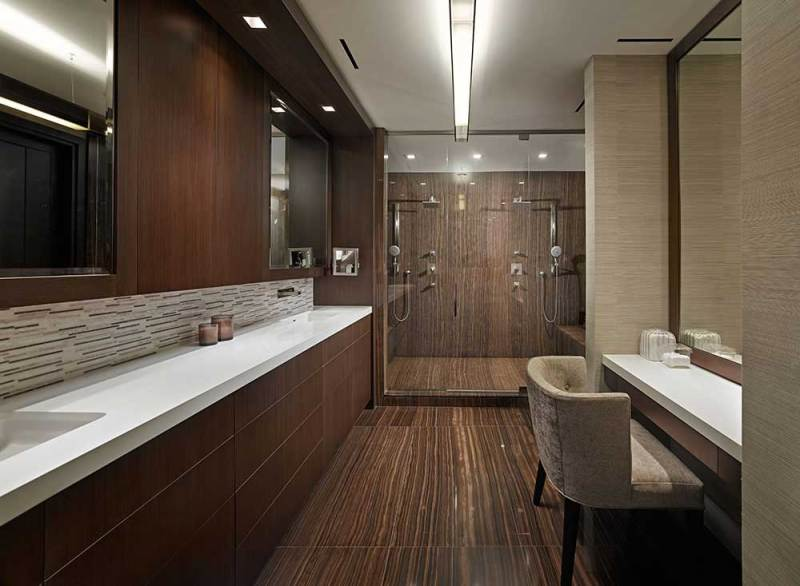 contemporary bathroom with linear led ceiling lights