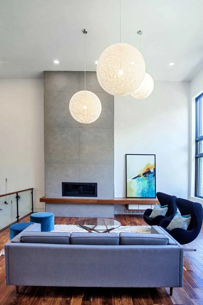 living room with paper lanterns lights