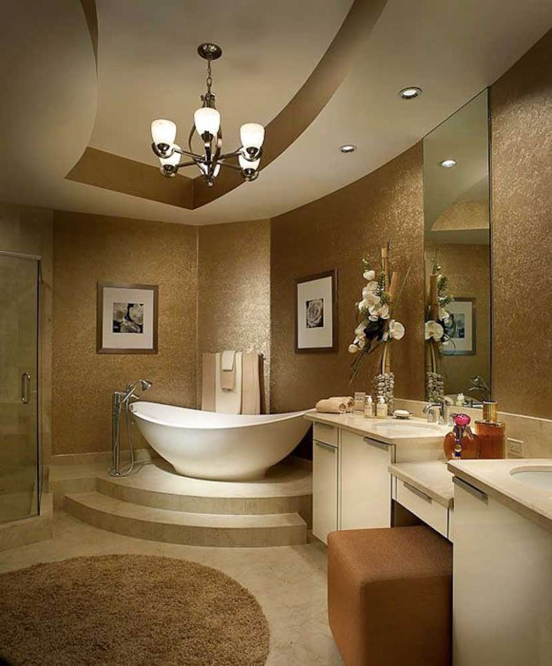 transitional bathroom with chandelier