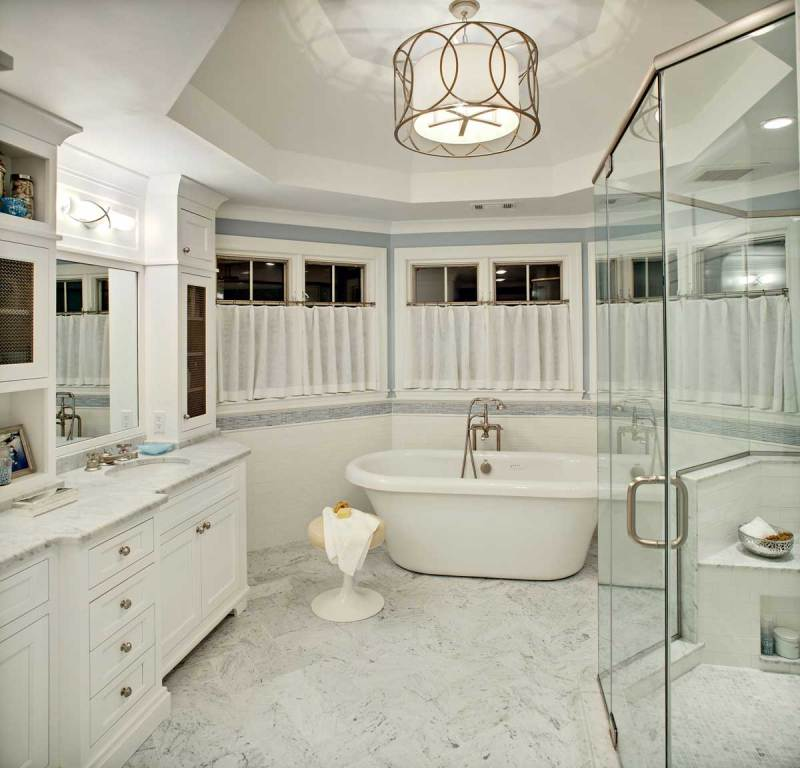 master bathroom with drum ceiling light shade