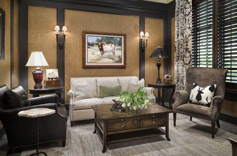 living room with small wall sconces