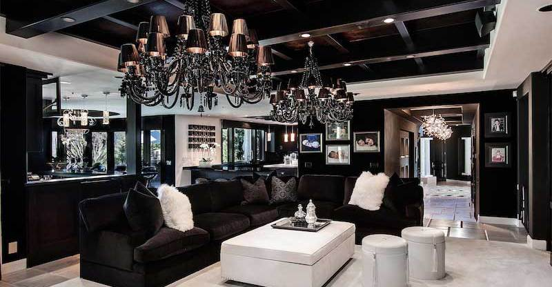 50 living room lighting ideas take your living room from gloom black living room with contemporary black chandelier lighting home mozeypictures Choice Image