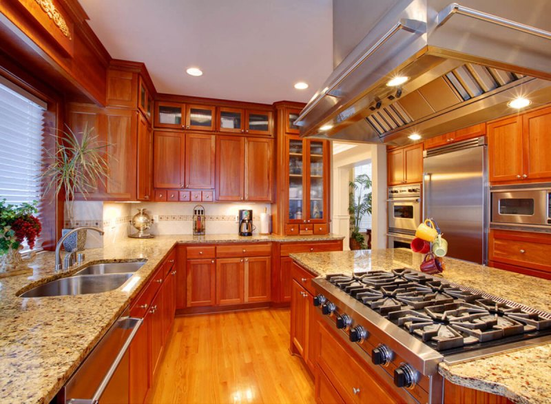 Modern kitchen with Santa Cecilia Gold Granite