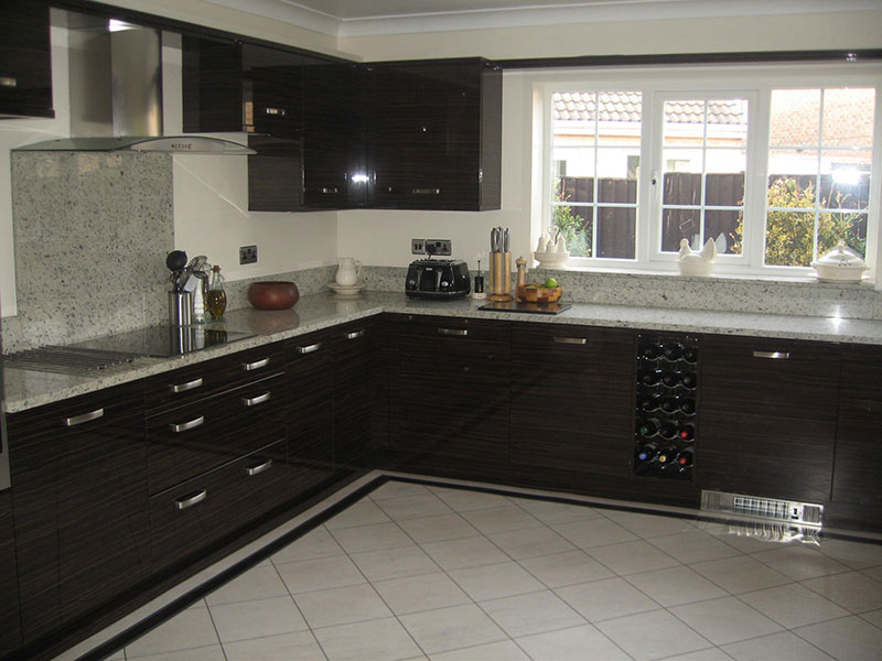 Modern kitchen with Kashmir white granite countertops