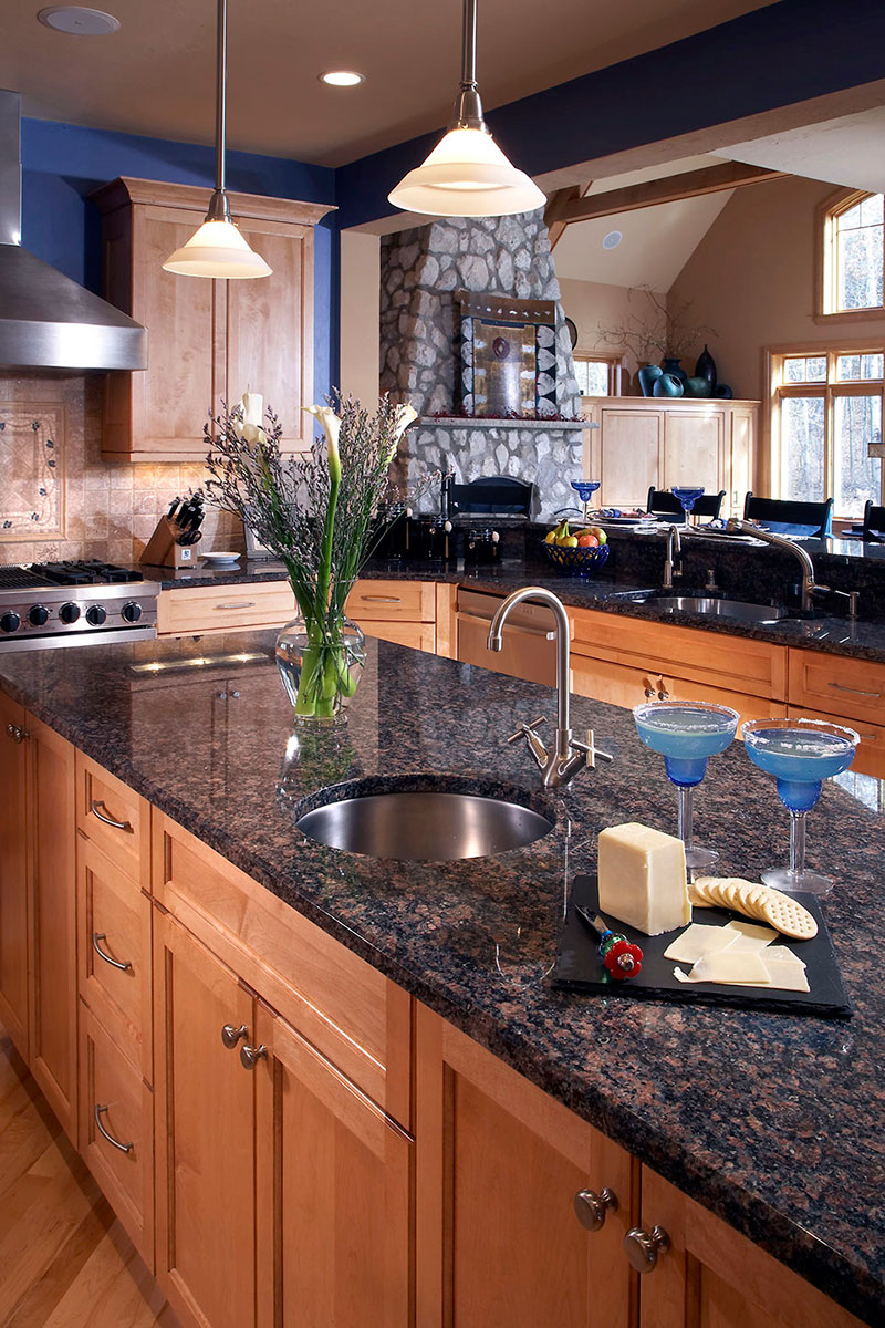 Tan brown granite kitchen countertops