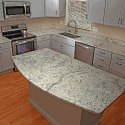 Cream cabinets with white ice granite