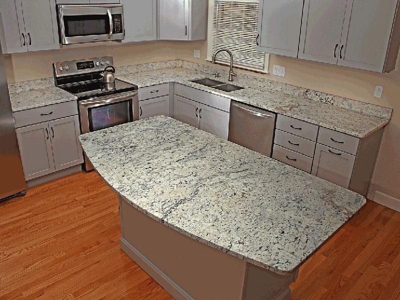 cream cabinets with white ice granite