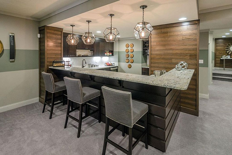 Contemporary kitchen with white ice granite
