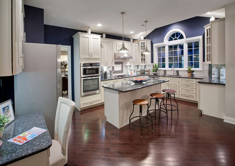 Transitional kitchen with blue pearl granite