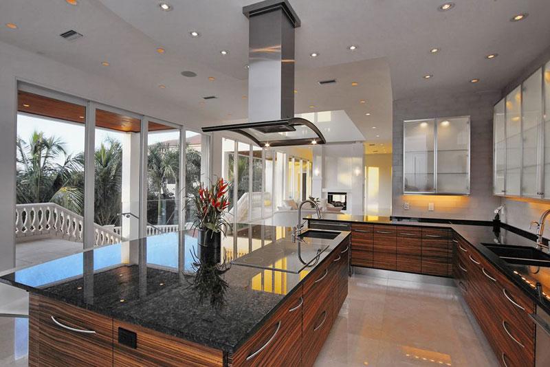 Contemporary kitchen design with black pearl granite countertops