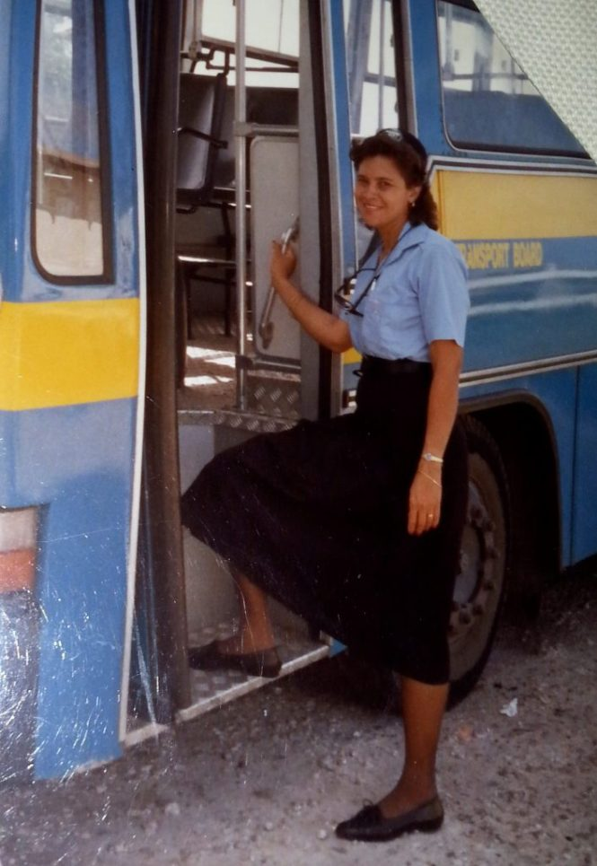 Mum working for the Barbados Transport Board.