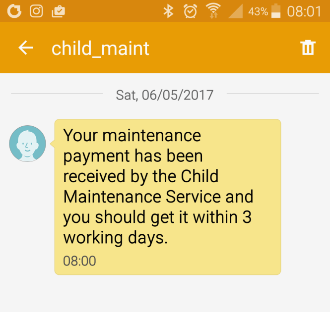 A screenshot of confirmation of my first Child Maintenance Service payment.