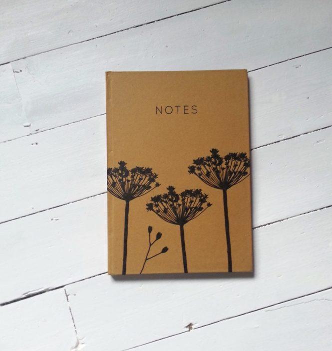 Brown & black umbellifer pattern A4 notebook