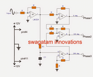 3Phase Signal Generator Circuit using Opamp | Homemade Circuit Projects