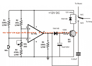 Sound Activated Automatic Amplifier Mute Circuit | Homemade Circuit Projects