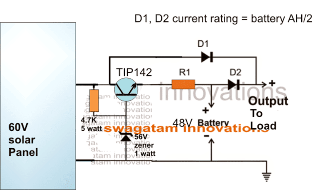 48V Solar Battery Charger Circuit With High/Low Cut-off