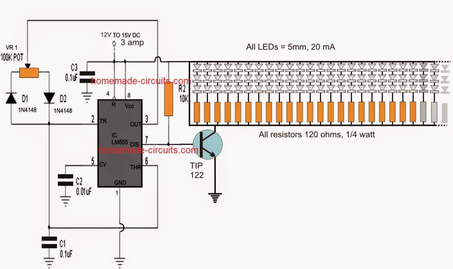 150 LED PWM Controlled Tubelight Circuit