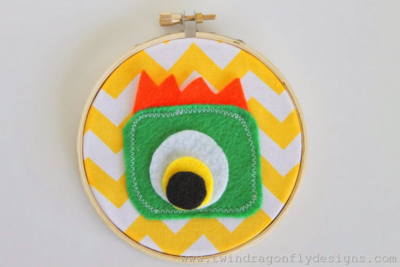 DIY Monster Embroidery Hoop Art