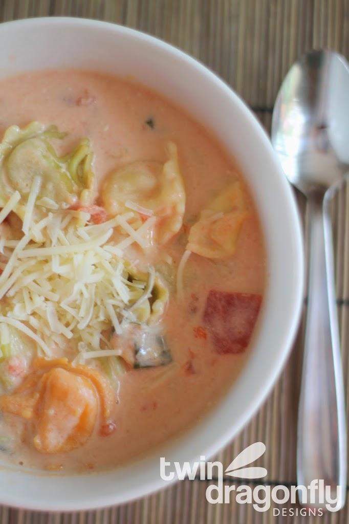Cheesy Tortellini Slow Cooker Soup