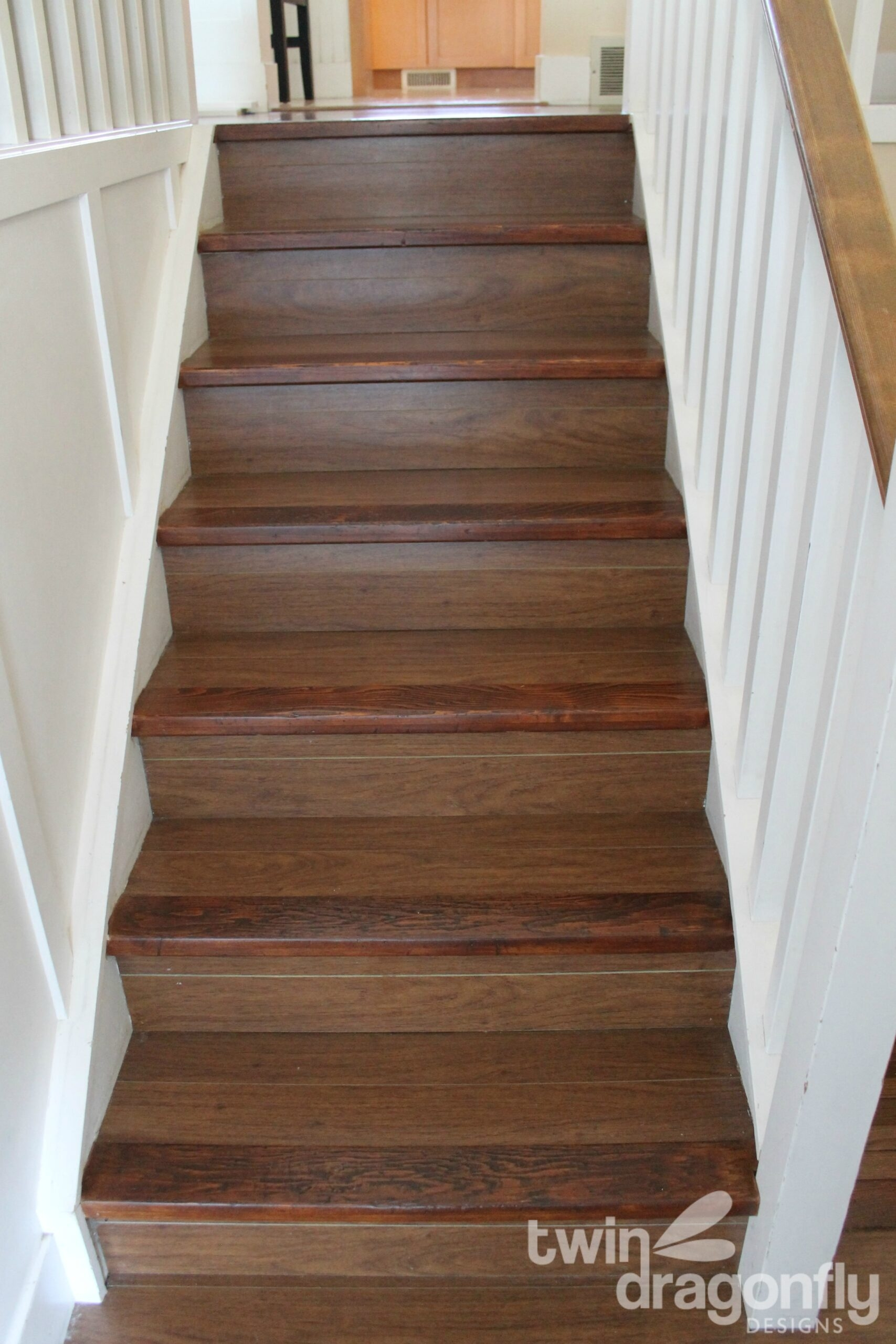 How To Refinish Wooden Stairs » Homemade Heather   Staircase Refinishing Near Me   Basement   Restaining   Brown Stained   White Riser   Grey Flooring