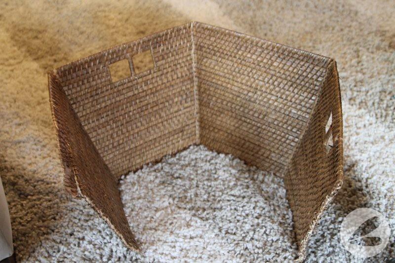brown weaved basket split open