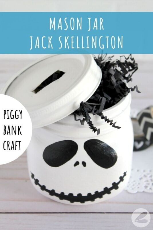 Mason Jar Jack Skellington Piggy Bank