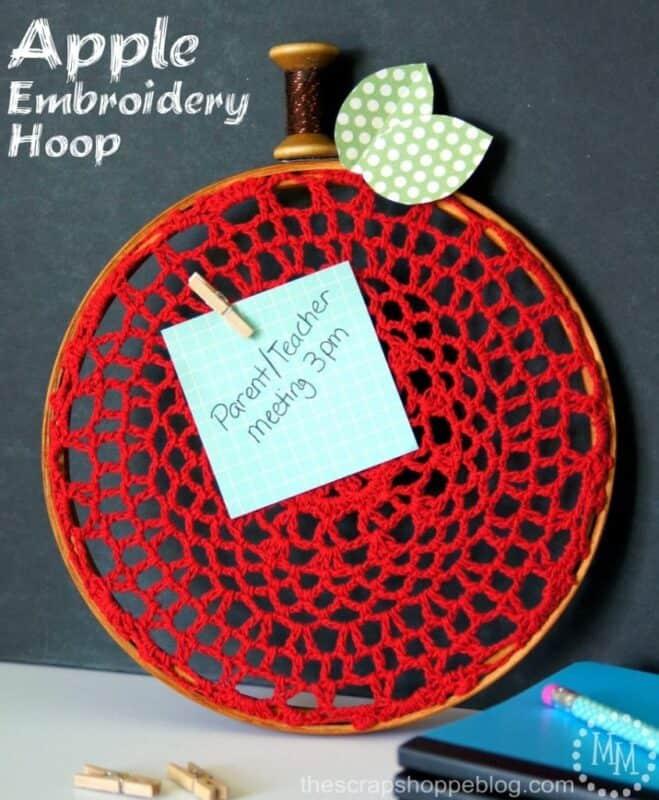 apple embroidery hoop x
