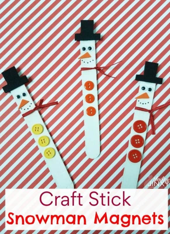 craft stick snowman magnets banner