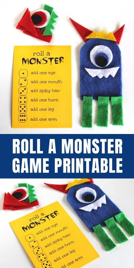 Roll a Monster Game Printable