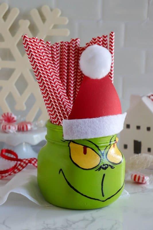 grinch mason jar craft