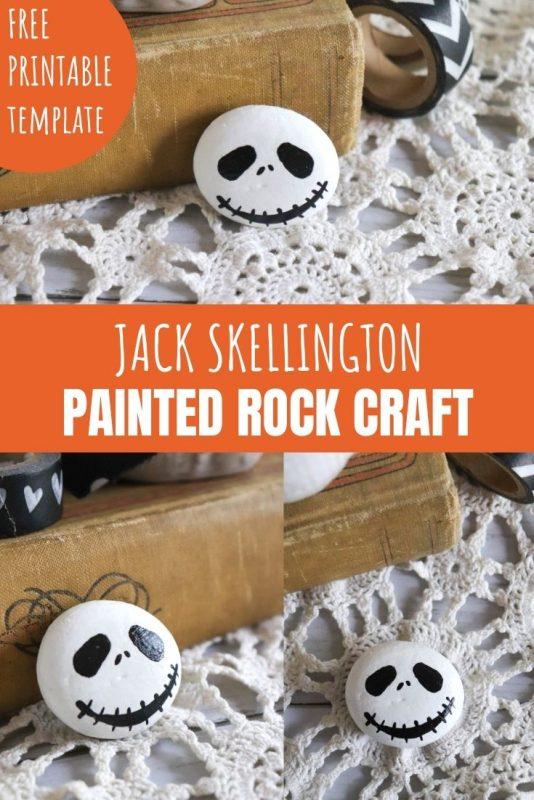jack skellington painted rock craft