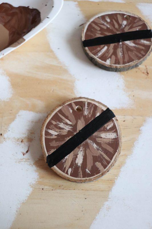 wood slice chewbacca ornament