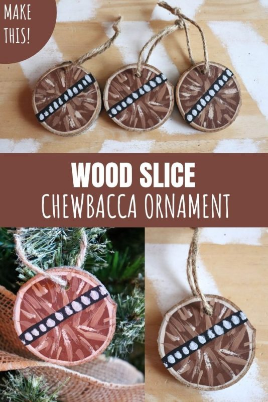 wood slice chewbacca ornament