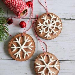 clay snowflake wood slice ornament