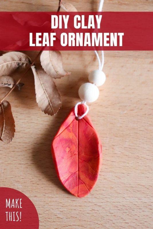 diy clay leaf ornament